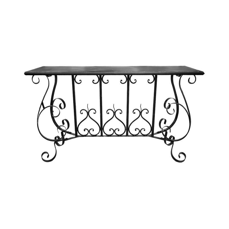Jardin Metal Console Table, 120cm, Distressed Black