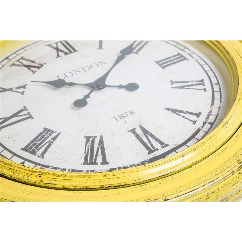 London Round Wall Clock Yellow
