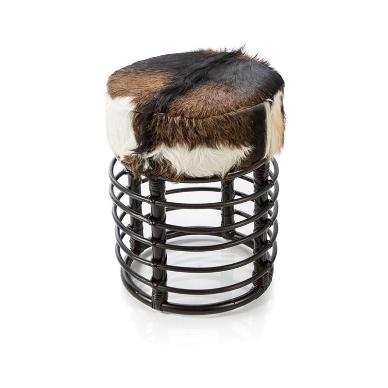 Rangge Round Rattan Stool With Goat Hide Seat Chocolate