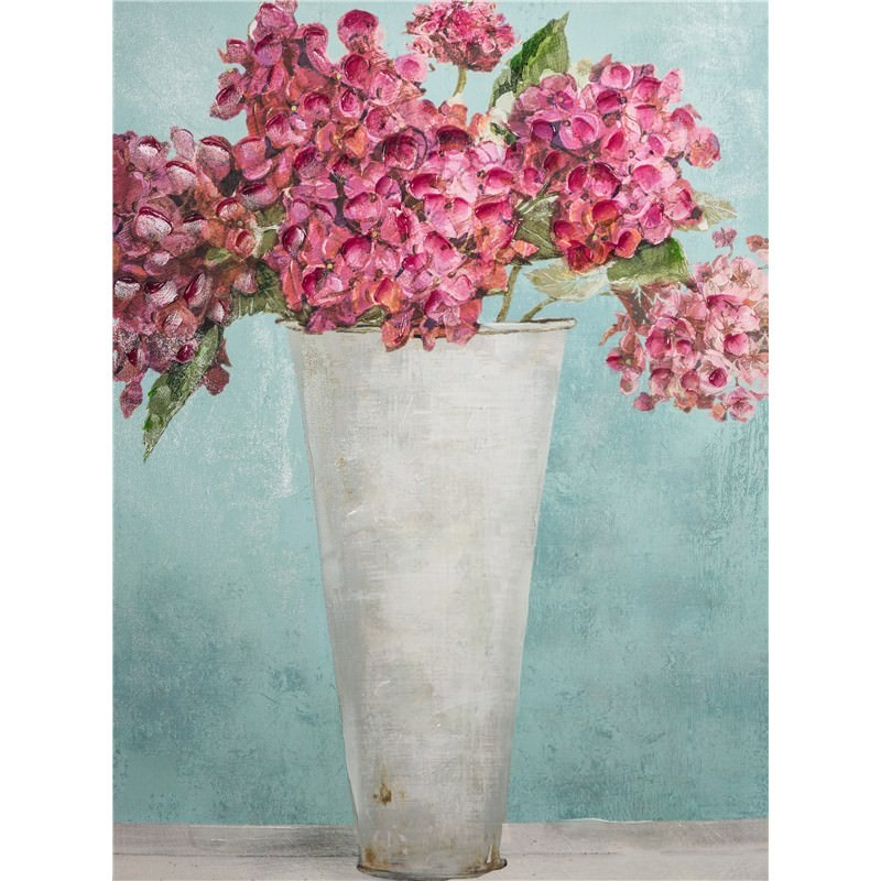 Hand Embellished Giclee Canvas Wall Art Hydrangeas By