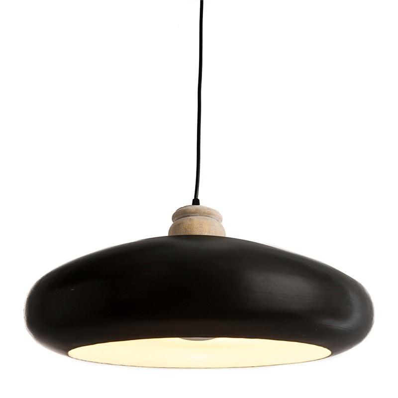 Black Iron Pendant Light With Timber Holder