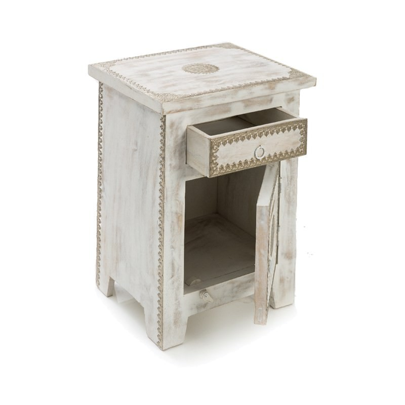 Solid Mango Wood Night Stand In White Wash 61cm