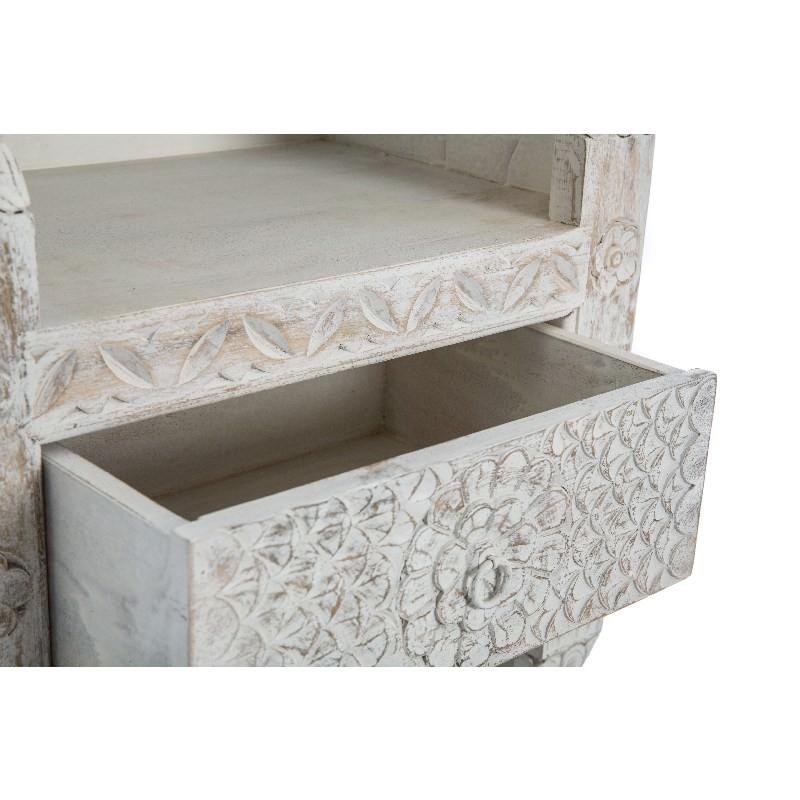 Carved Solid Mango Wood Bookcase White Wash