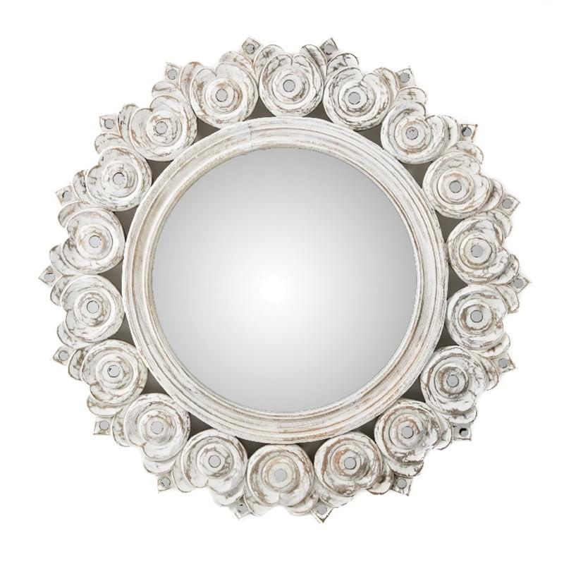 Solid Mango Wood Sunflower Mirror In White Wash 60cm