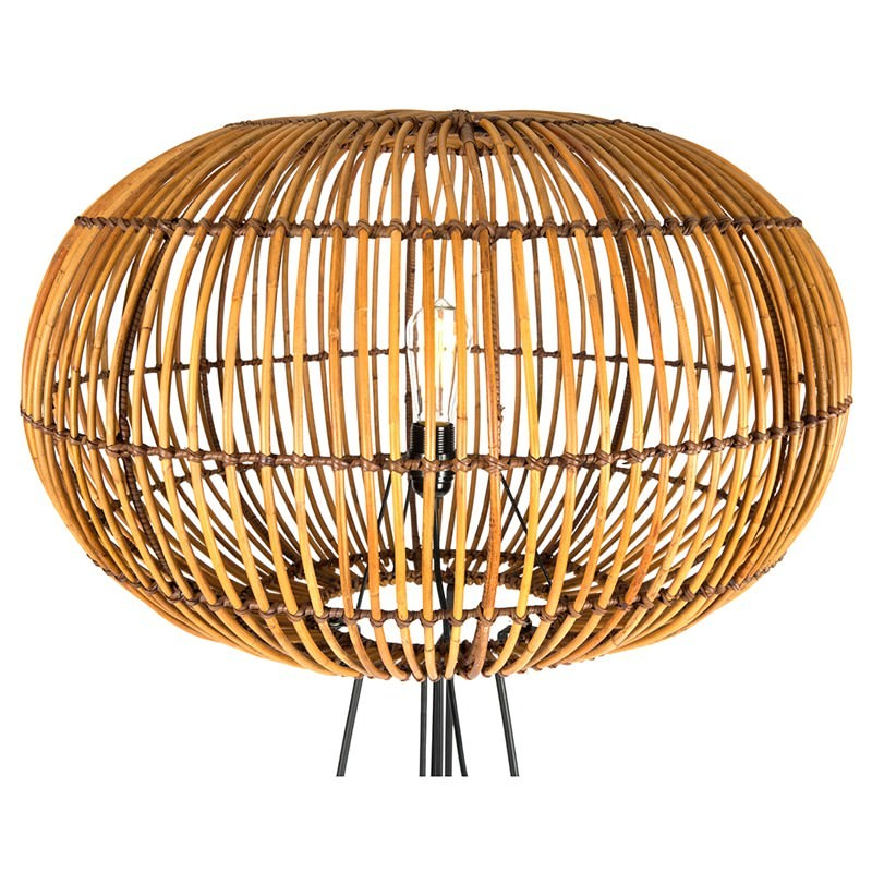 Darla Rattan Floor Lamp With Iron Stand Natural Black