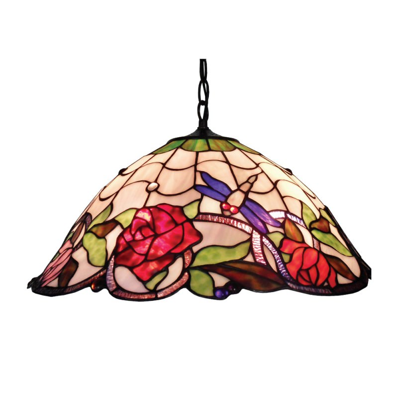 Rose & Dragonfly Tiffany Style Stained Glass Hanging Lamp