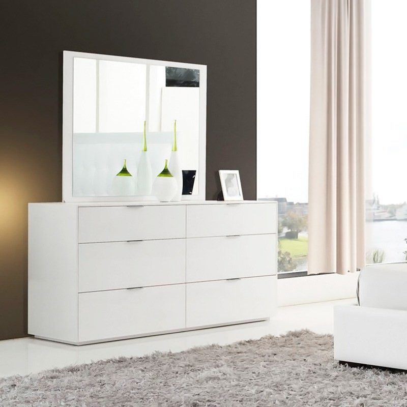 Kleid 6 Drawer Dressing Table With Mirror Gloss White