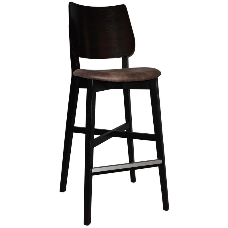 Sensational Dakota Commercial Grade Oak Timber Bar Stool Fabric Seat Donkey Black Theyellowbook Wood Chair Design Ideas Theyellowbookinfo