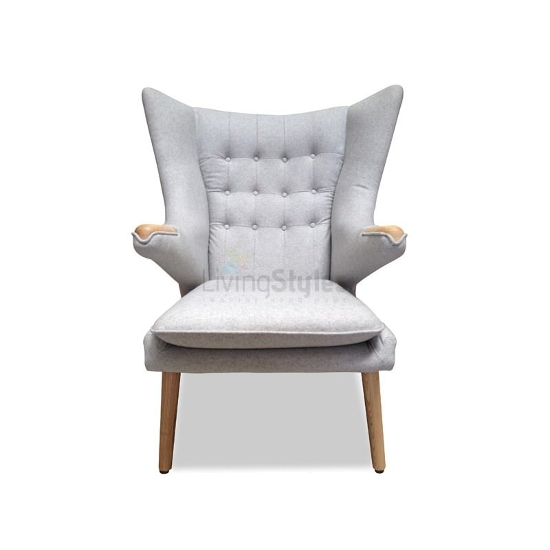 Replica Hans Wegner Fabric Papa Bear Chair With Ottoman Grey