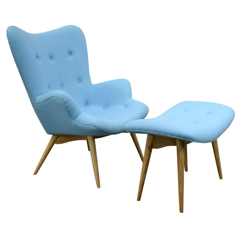 Brilliant Replica Grant Featherston Contour Lounge Chair With Ottoman Light Blue Machost Co Dining Chair Design Ideas Machostcouk