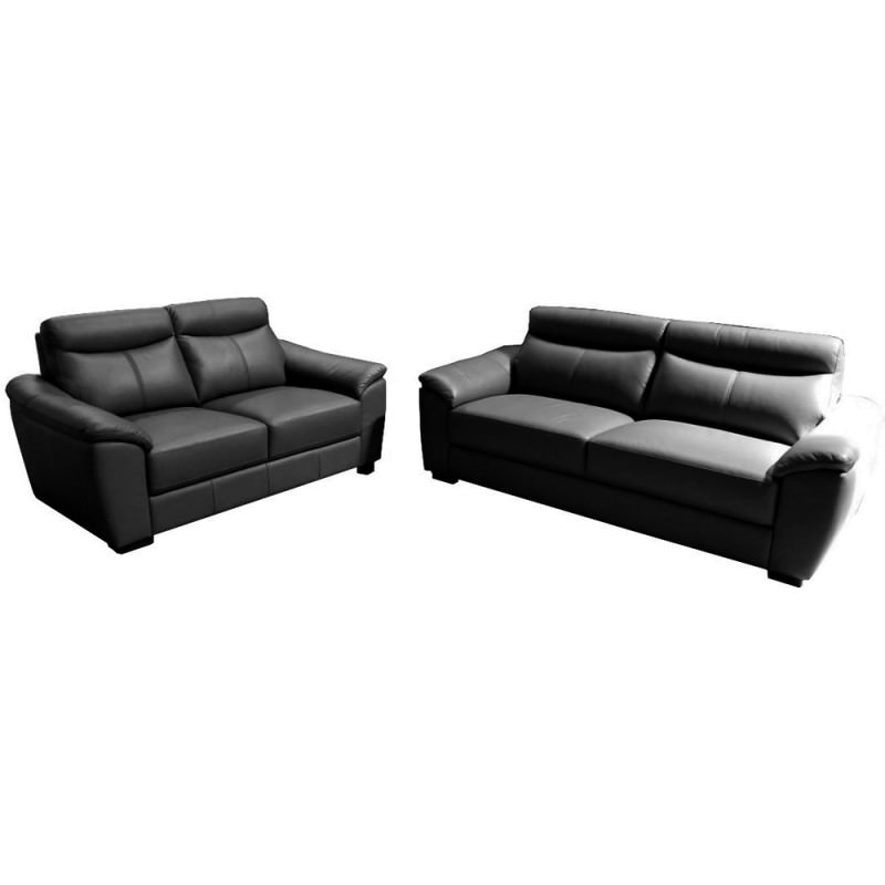 Awesome Adrian 2 5 2 Seater Leather Sofa Set Black Onthecornerstone Fun Painted Chair Ideas Images Onthecornerstoneorg