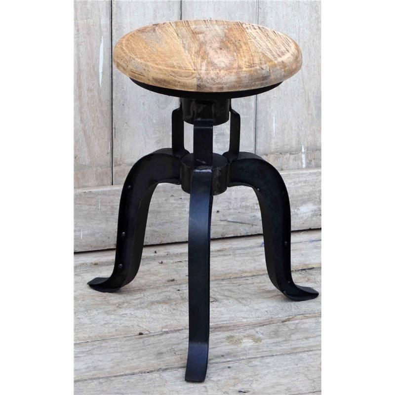 Hako Industrial Adjustable Timber Seat Iron Kitchen Stool