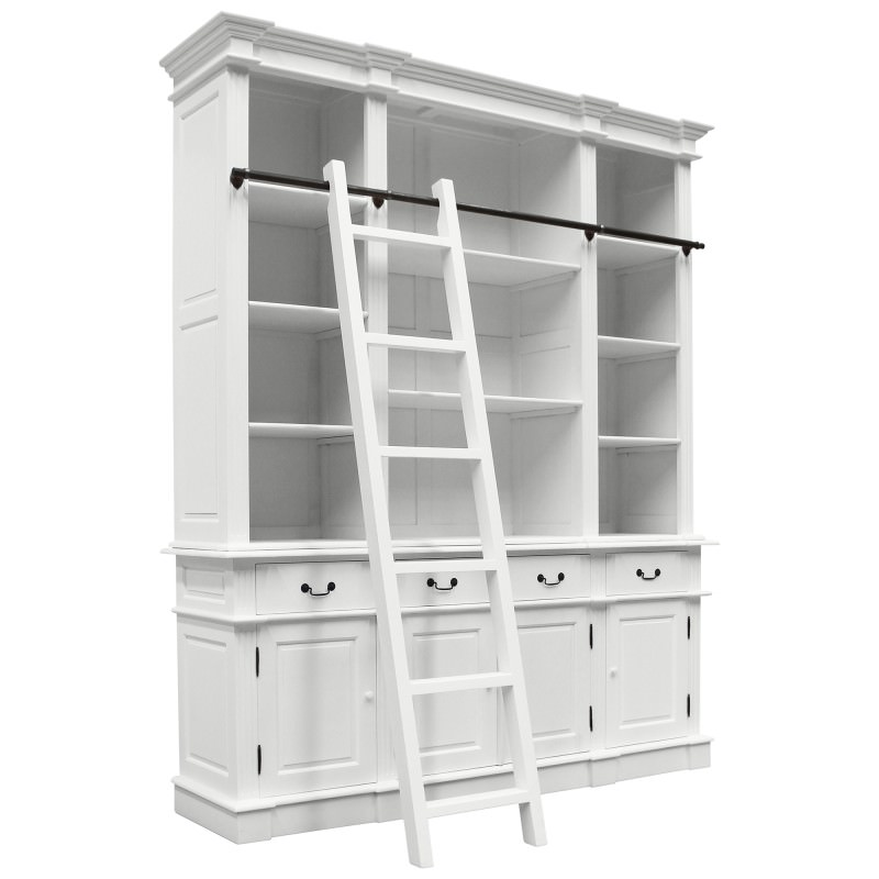 Souvigny Hand Crafted Mahogany Bookcase, Distressed White