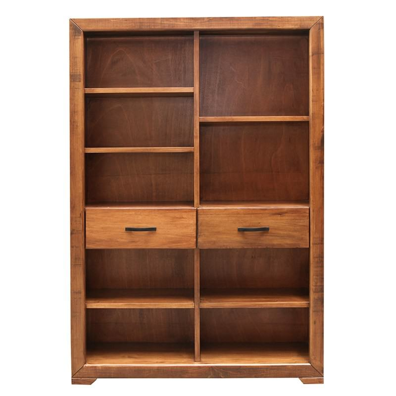 Egypt Solid Hardwood Timber Staggered Bookcase Black