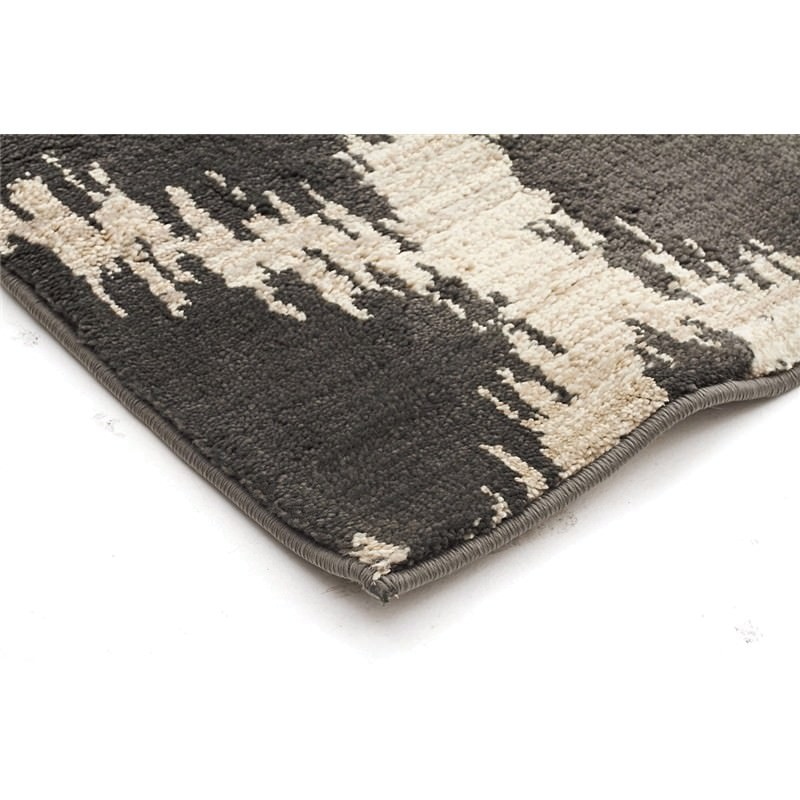 Egyptian Made Moroccan Cross Lines Design Rug In Charcoal