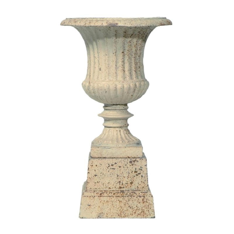 Barrowton Small Cast Iron Garden Urn Antique White
