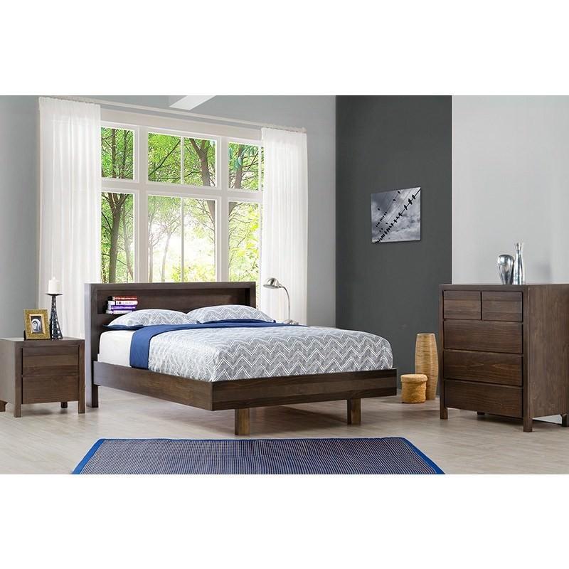 Trend New Zealand Pine Queen Bed In Charcoal