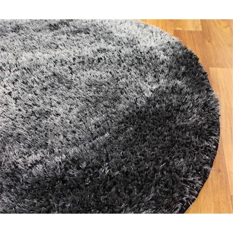 Plush Luxury Round Shag Rug In Charcoal