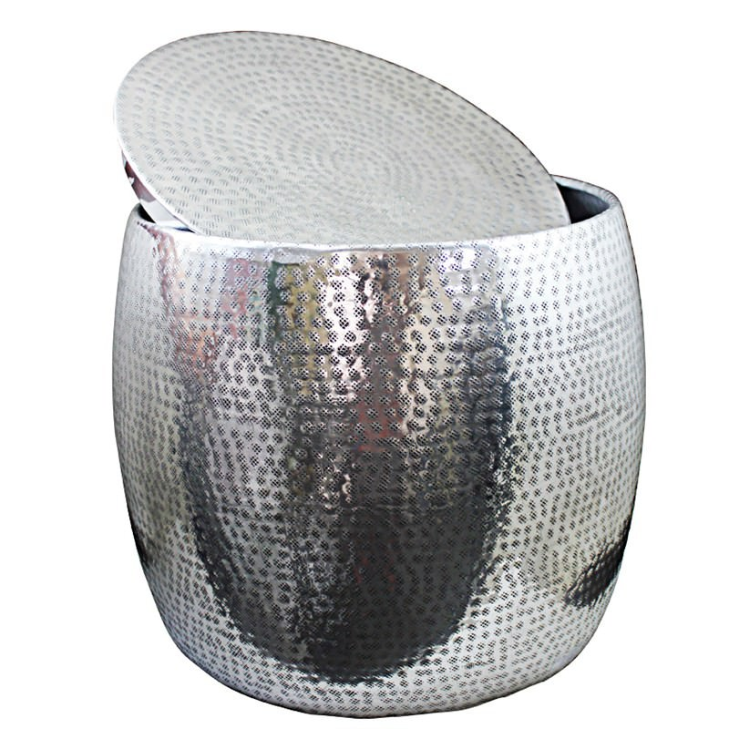 Pundis Hammered Aluminium Round Side Table Silver