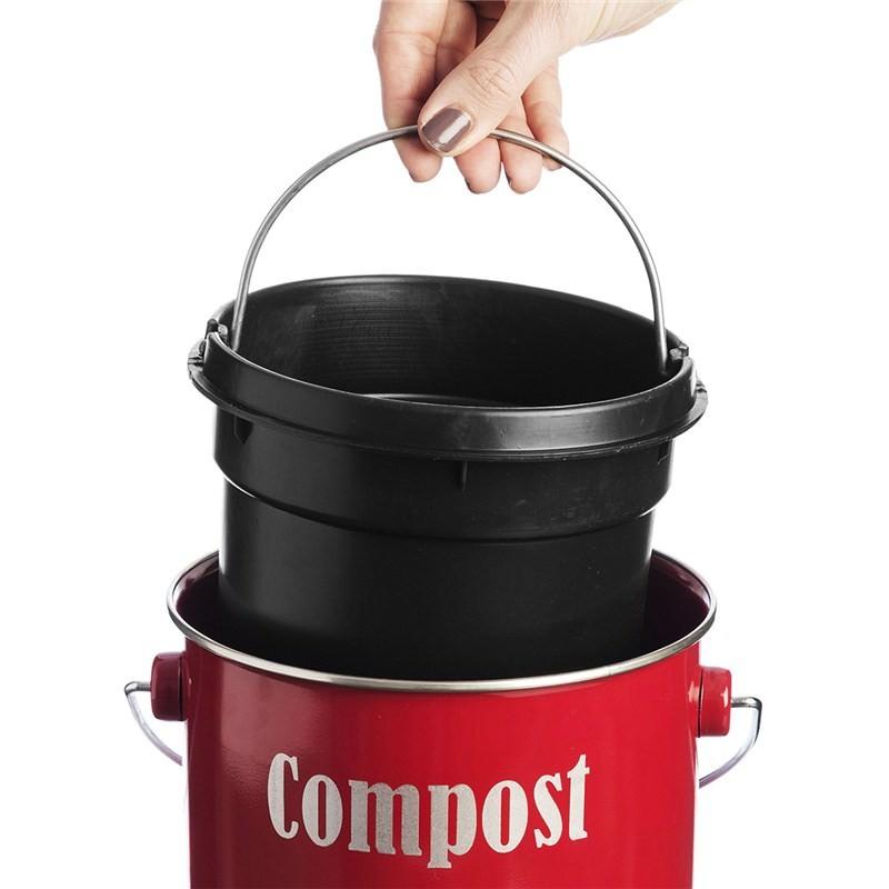 typhoon vintage kitchen compost caddy red. Black Bedroom Furniture Sets. Home Design Ideas