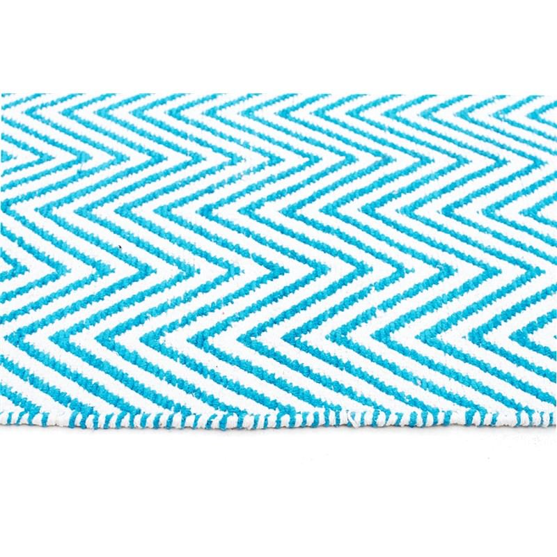 Villa Herringbone Hand Loomed Cotton Rug In Turquoise