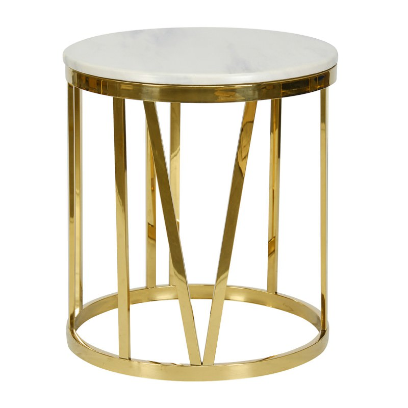 Moonee Faux Marble Metal Round Side Table White Gold