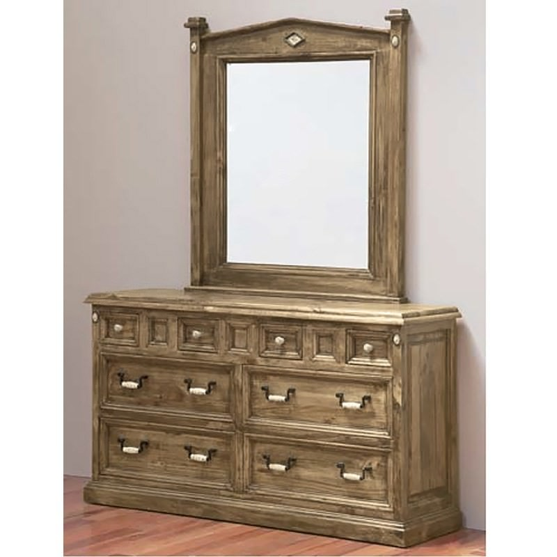 Suffolk Solid Pine Timber 8 Drawer Dresser With Mirror
