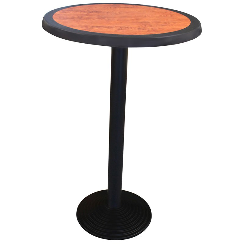 Cascina Commercial Grade Round Bar Table, 60cm, Cherrywood / Black