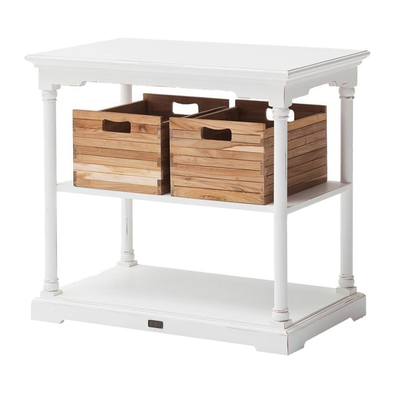 Bordeaux Mahogany Timber Kitchen Table With Teak Baskets 90cm