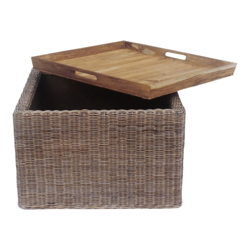 Portia Tray Topped Wicker Coffee Table