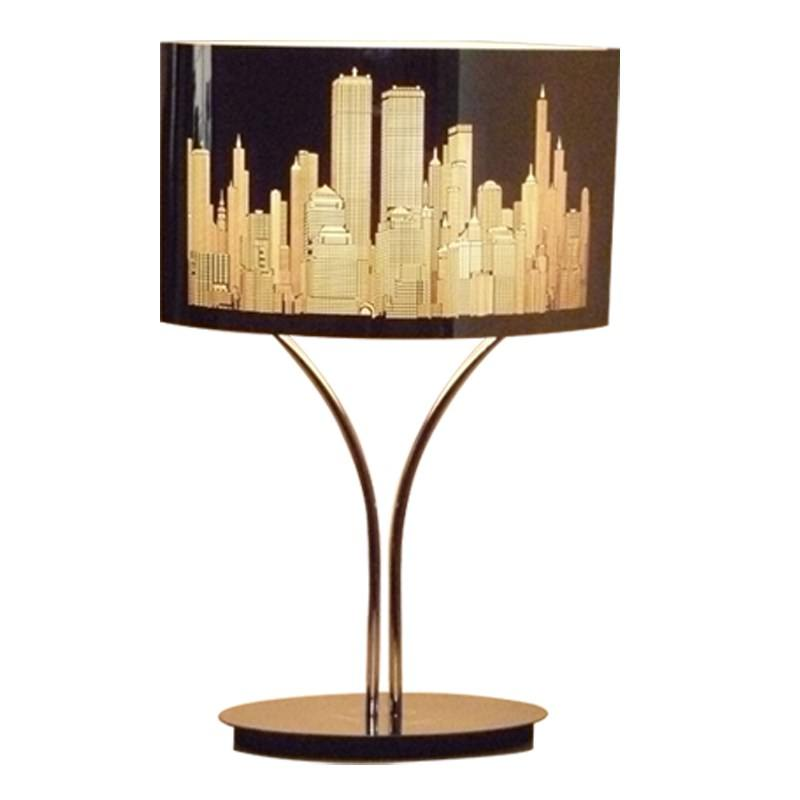 Manhatton Laser Cut Stainless Steel Table Lamp With Chrome Base 64cm