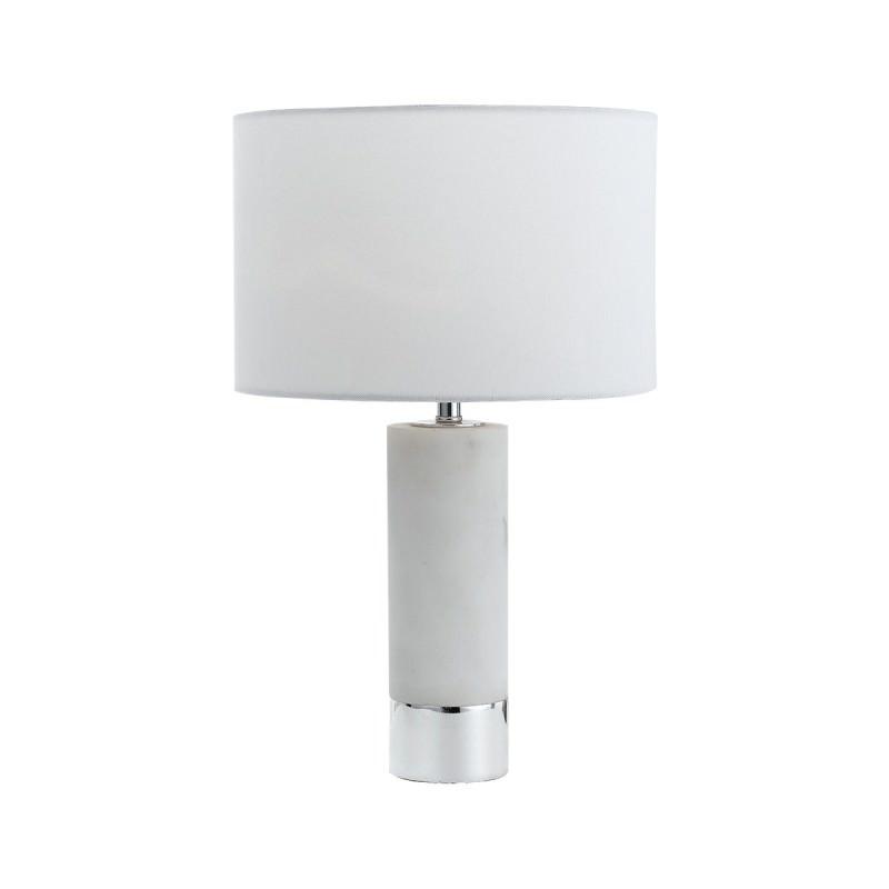 Toledo Ceramic Base Table Lamp White Marble Chrome