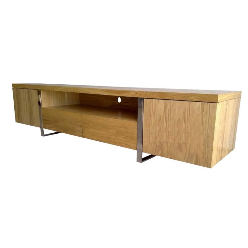 Stanford Wooden 2 Door 2 Drawer Lowline Tv Unit 210cm Oak