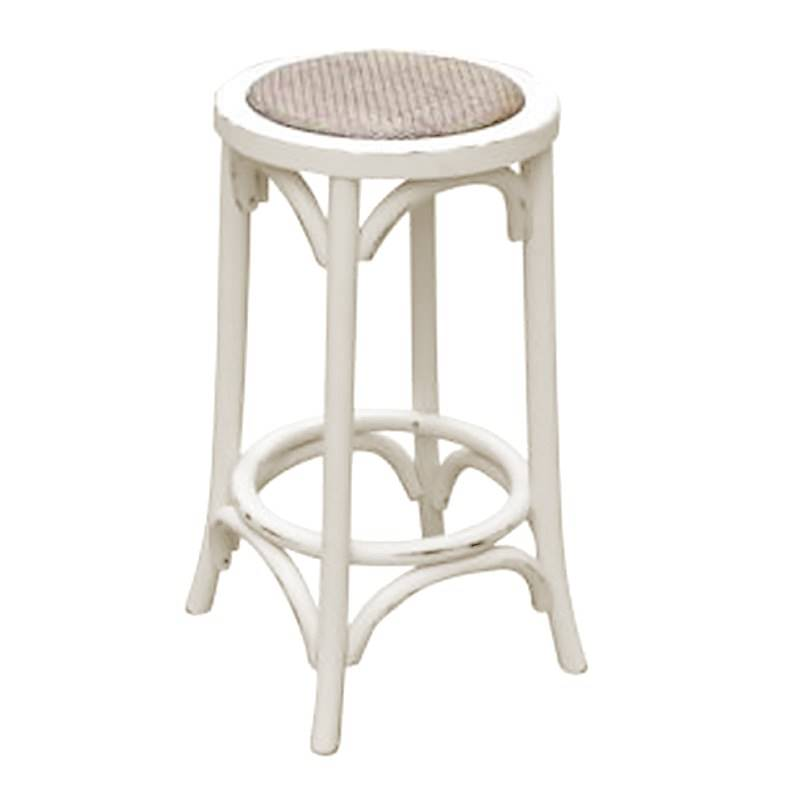 Sherwood Solid Oak Timber Kitchen Stool With Rattan Seat