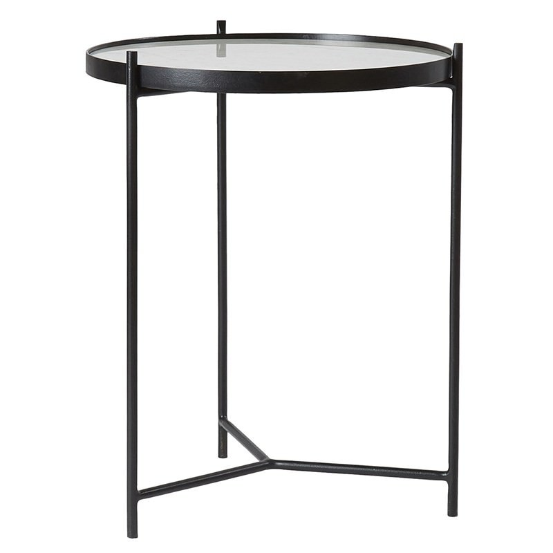 White Marble And Metal Round Accent Table: Everett Metal Round Side Table With Marble Top, White/Black