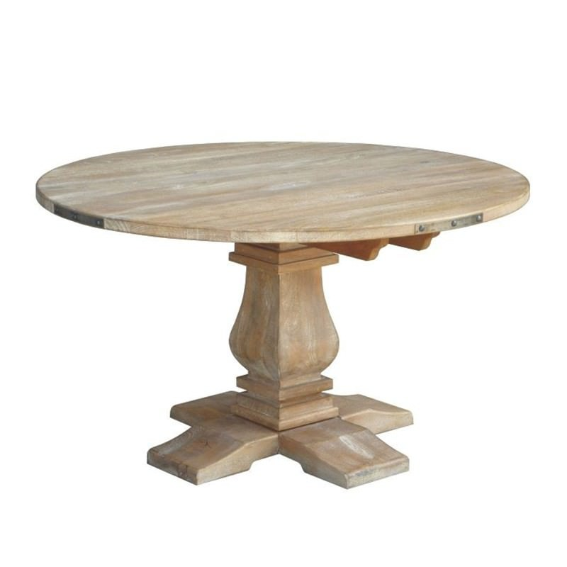 Oatley Solid Mango Wood Timber Round Dining Table 135cm Grey Washed