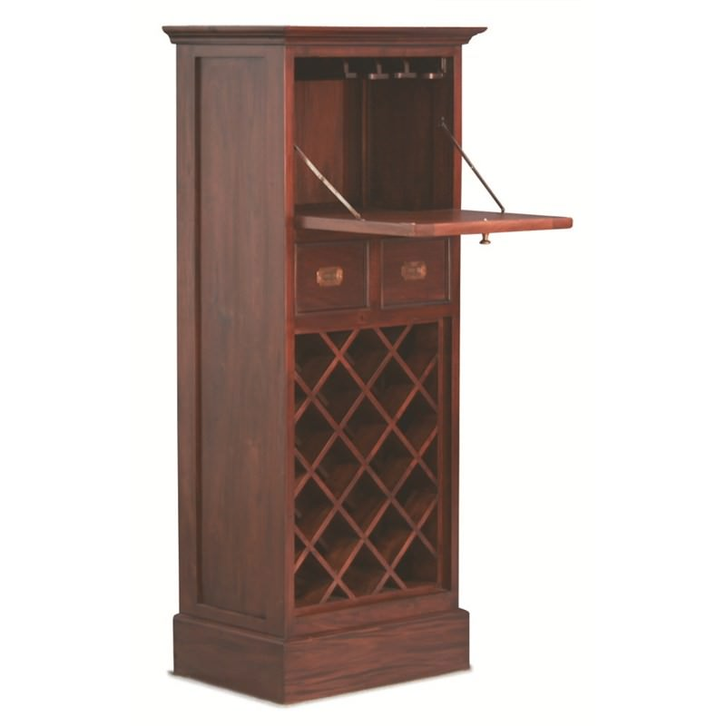 18 Bottle 2 Drawer Fold Out Cabinet Solid Mahogany Wine Rack