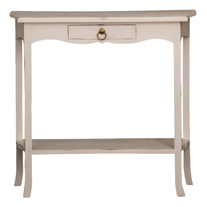 1 Drawer Small Solid Timber Sofa Table In Rose White
