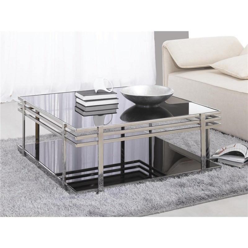 3pc Black Temper Glass Tops Metal Legs Coffee Table W: Polished Large Stainless Steel Coffee Table With Dark