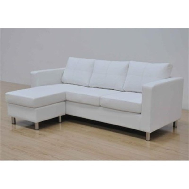 White Pu Leather 3 Seater Sofa Lounge Couch With Chaise
