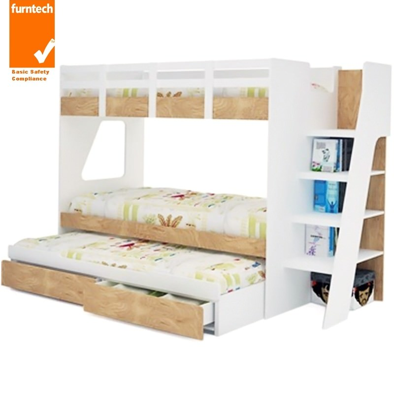 Milky Single Bunk Bed With Trundle And Storage