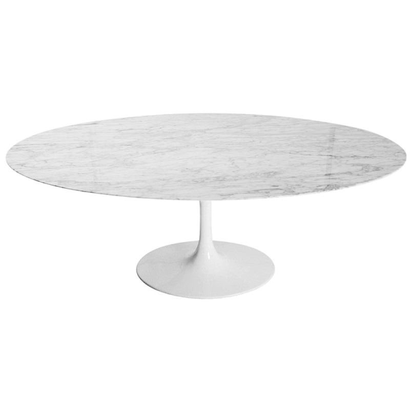 Replica Saarinen Tulip Marble Oval Dining Table White