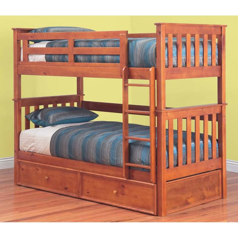 Forte Solid Pine Timber Single Bunk Bed Without Trundle