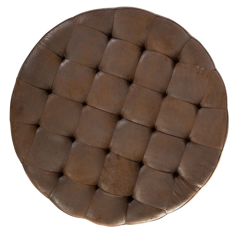 Chelmsford Quilted Faux Leather Round Ottoman Antique Brown