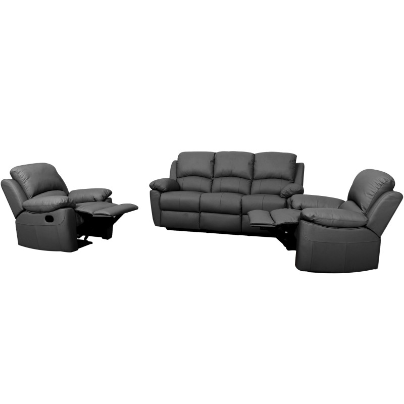 Super Connie Leather 3 1 1 Recliner Sofa Set Black Short Links Chair Design For Home Short Linksinfo
