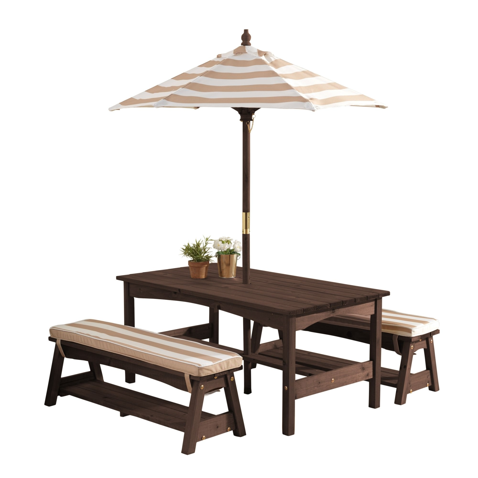 Kidkraft Kids Outdoor Table and Bench Set with Cushions and Umbrella - Oatmeal and White Stripes