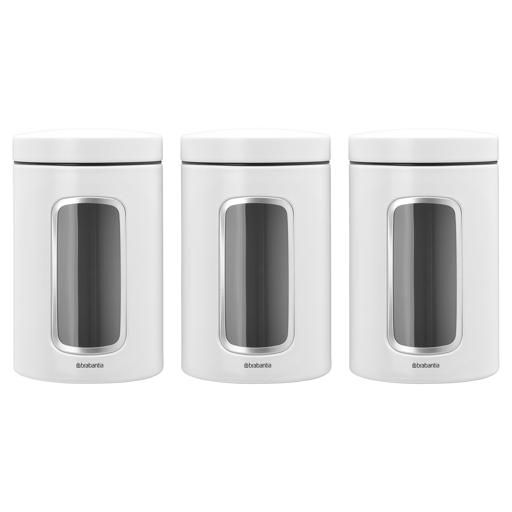 Brabantia 3 Piece Window Storage Canister Set, 1.4 Litre, White