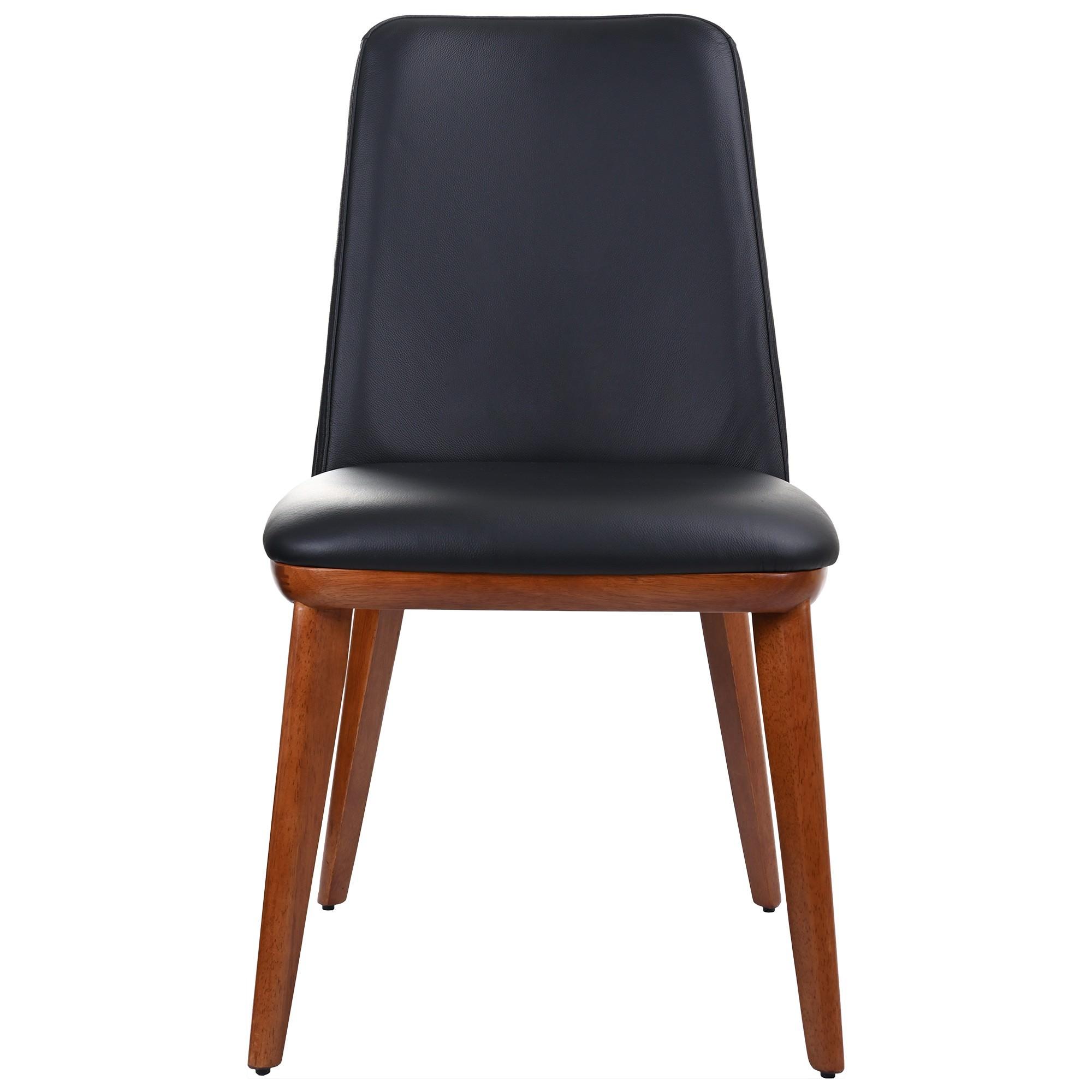 Benato Leather Dining Chair, Black / Blackwood
