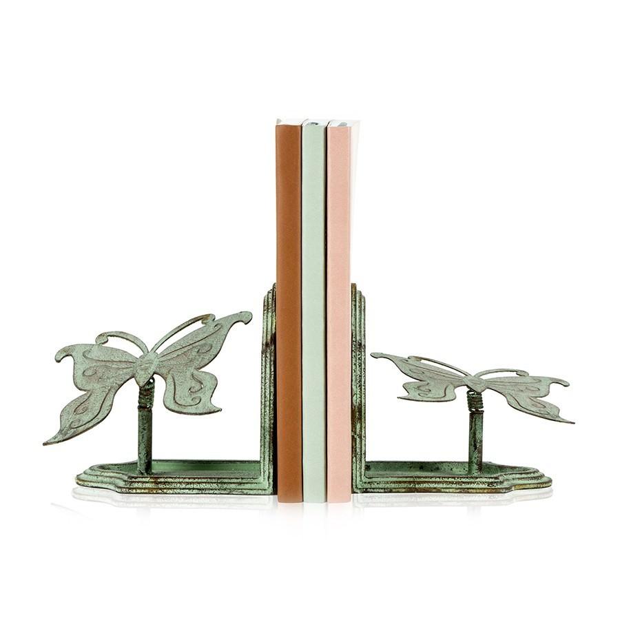 Crane 2 Piece Iron Butterfly Bookend Set