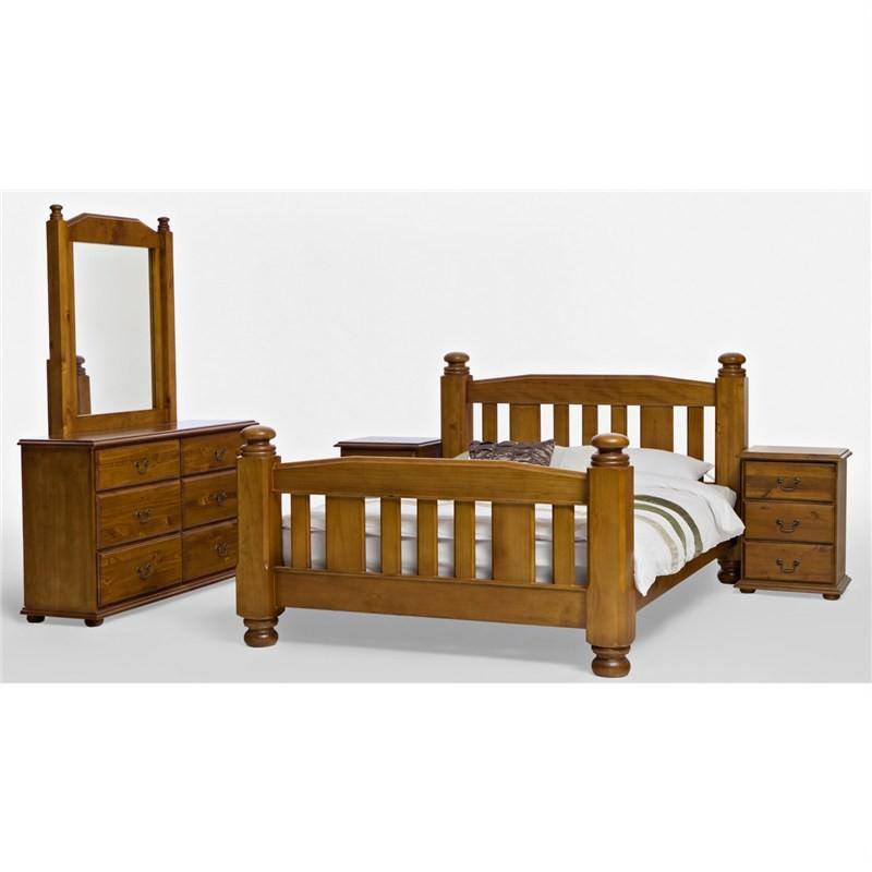 Solid New Zealand Pine Queen Bed